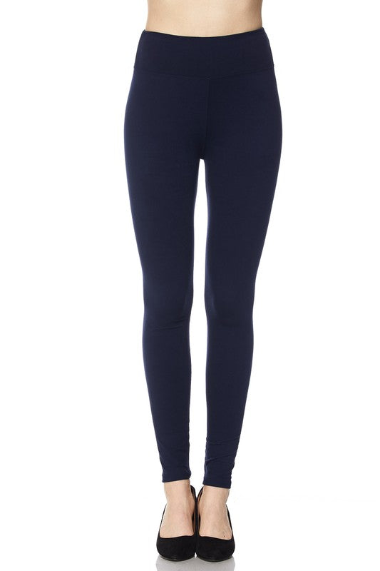 SOLID LEGGINGS WITH 3IN WAISTBAND- REGULAR AND CURVY