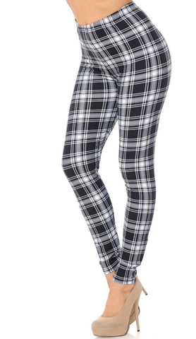 BLACK AND WHITE PLAID LEGGINGS-REGULAR
