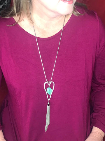 HEART STONE AND TASSEL NECKLACE