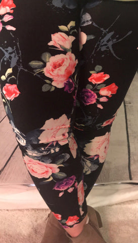 FLORAL LEGGINGS:S-XL