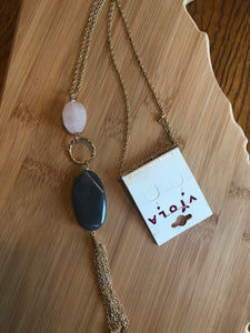 PINK AND GREY DOUBLE STONE NECKLACE WITH TASSEL