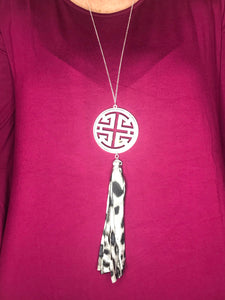 LEOPARD TASSEL AND PENDANT NECKLACE