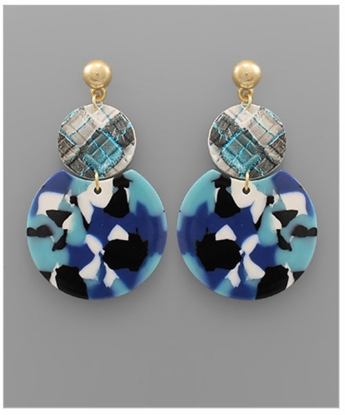 LEATHER AND ACRYLIC DISC EARRINGS