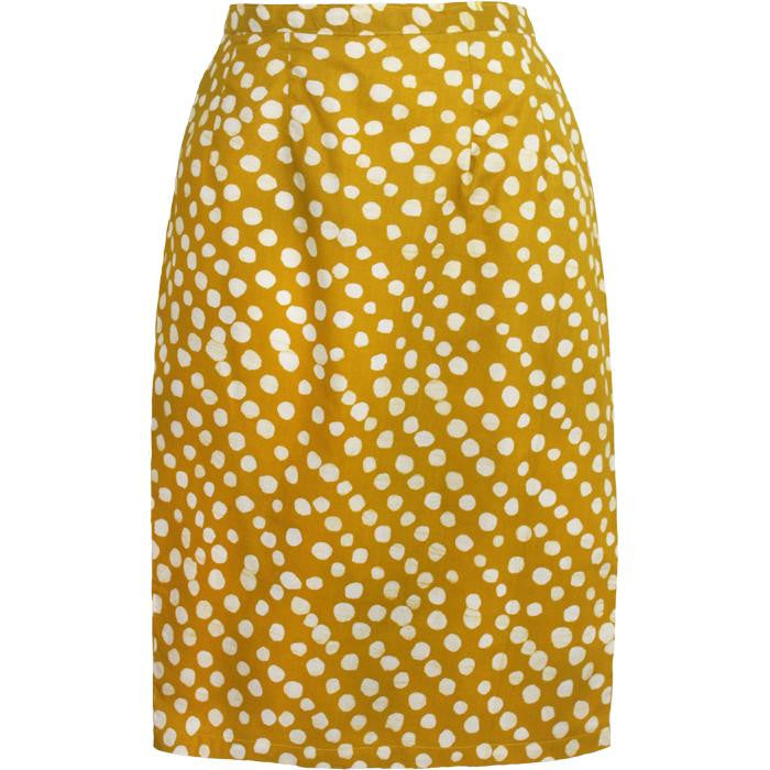 Women Pencil Skirt - Pebbles: Mustard