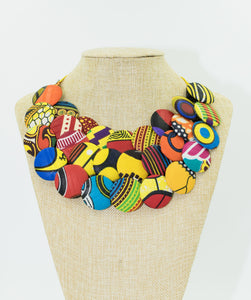 Ankara Button Bib Necklace