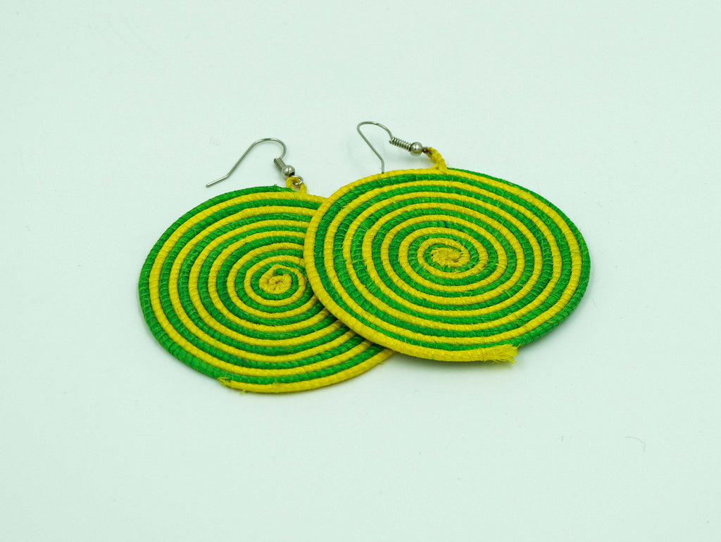 Green and Yellow Woven Earrings