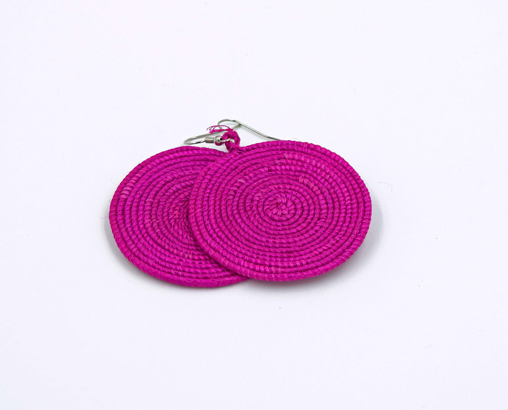 Dark Pink Woven Disc Earrings