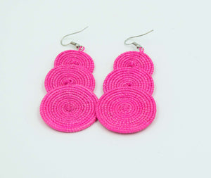 Pink Three Disc Woven Earrings