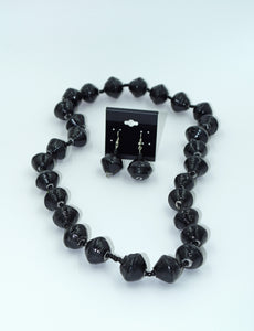 Black Paper Bead Necklace and Earring Set