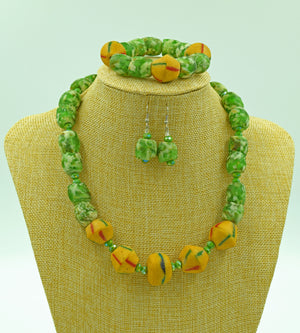 Seafoam Green and Orange Krobo Bead Earring and Bangle Set