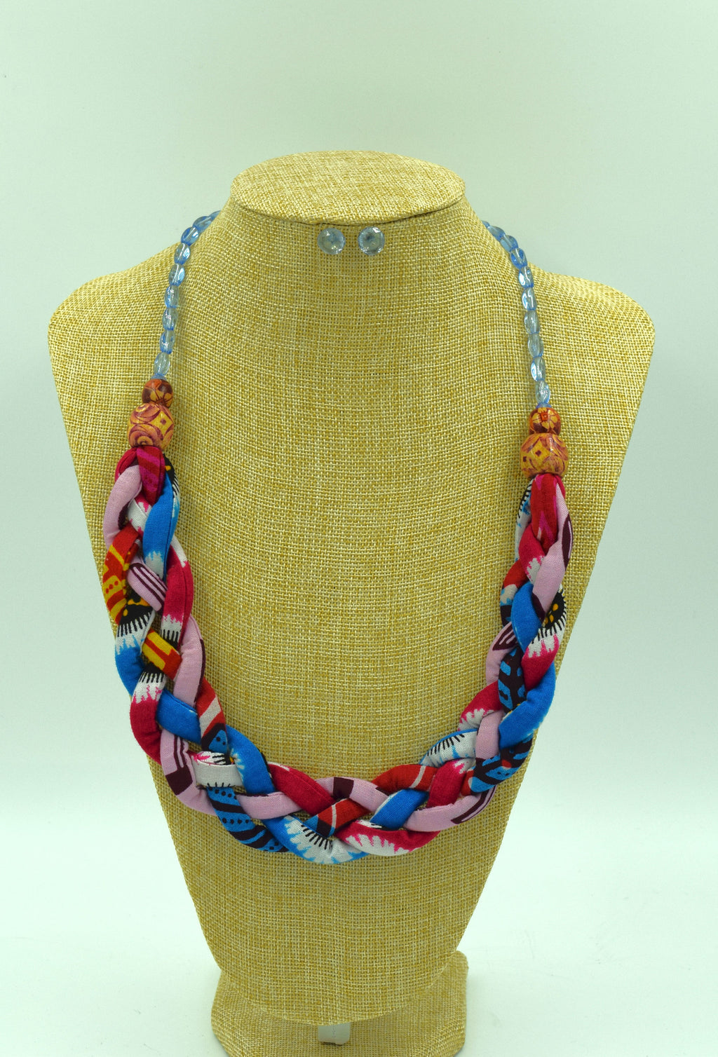 Ankara Boho Necklace with Studs