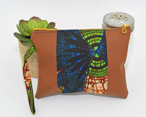 Vegan Leather and Ankara Wristlet