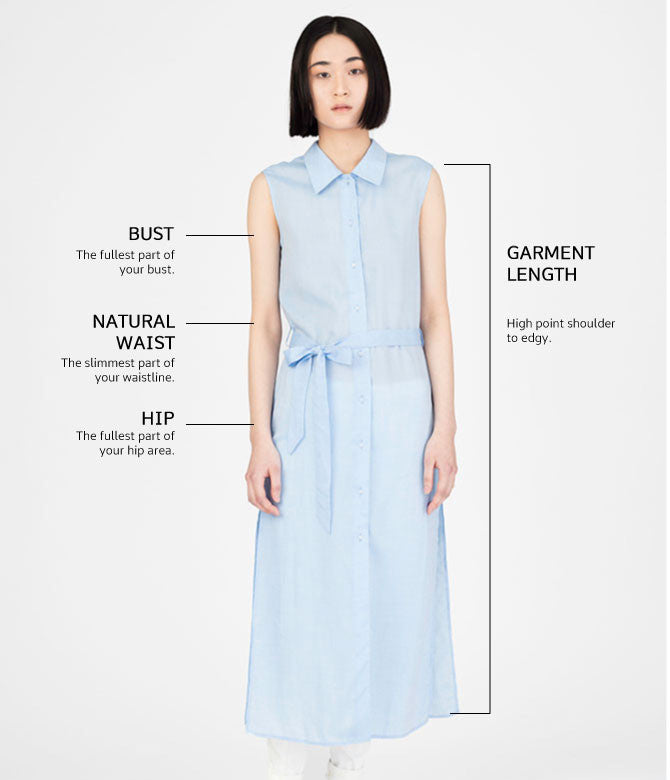 Size chart shirt dress