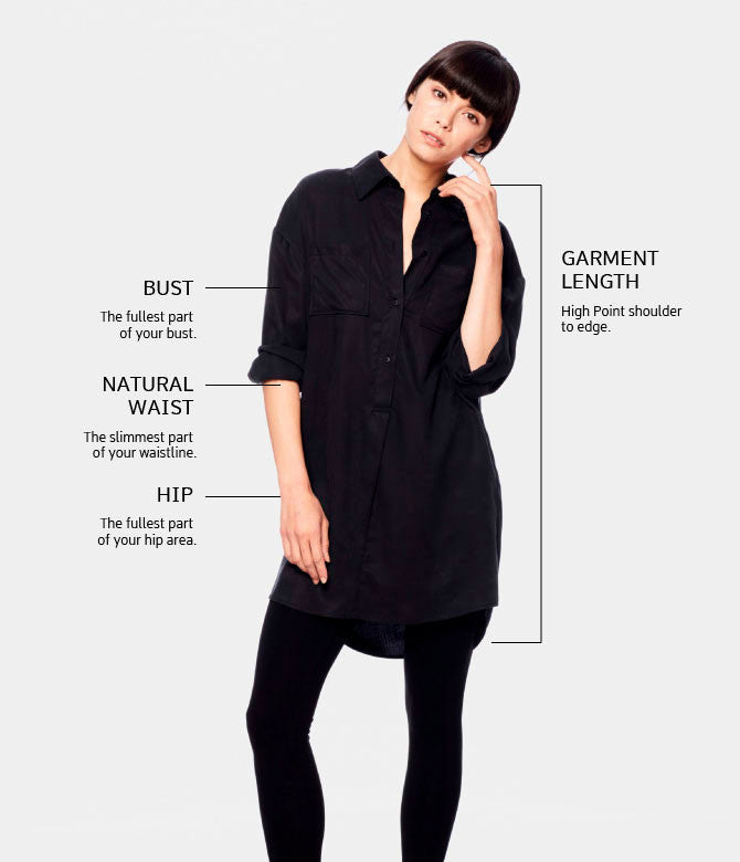 Edda Tunic Dress Size chart