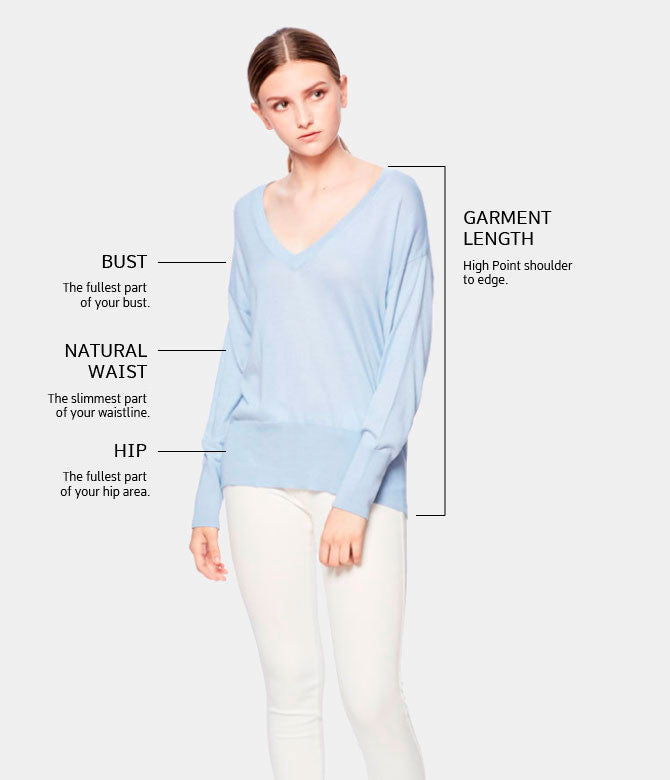 Inanna V neck cashmere sweater Size chart