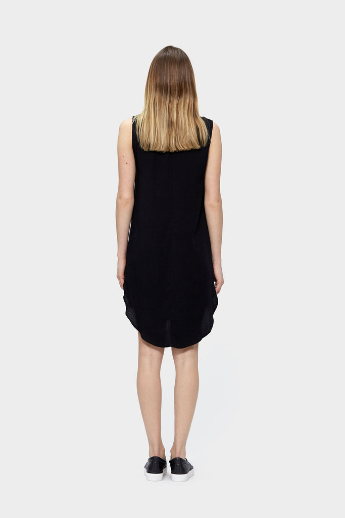 SiiZU. siizu. Zip Up Tencel Dress, black,eco clothing, natural clothing, green clothing, luxury clothing, organic clothing, affordable clothing, eco friendly dress