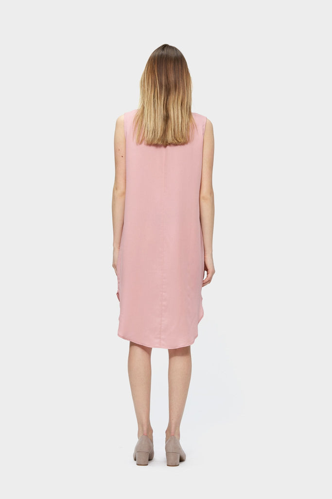 SiiZU. siizu. Zip Up Tencel Dress, Pink dress,eco clothing, natural clothing, green clothing, luxury clothing, organic clothing, affordable clothing, eco friendly dress