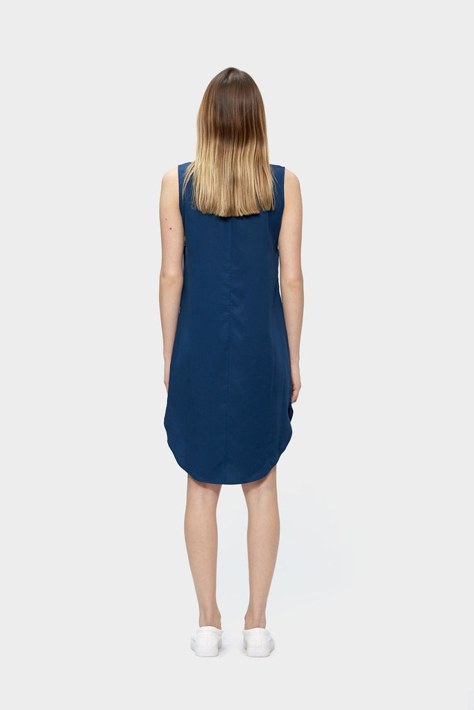 Zip Up Tencel Dress, Navy Dress, eco clothing, natural clothing, green clothing, luxury clothing, organic clothing, affordable clothing, eco friendly dress
