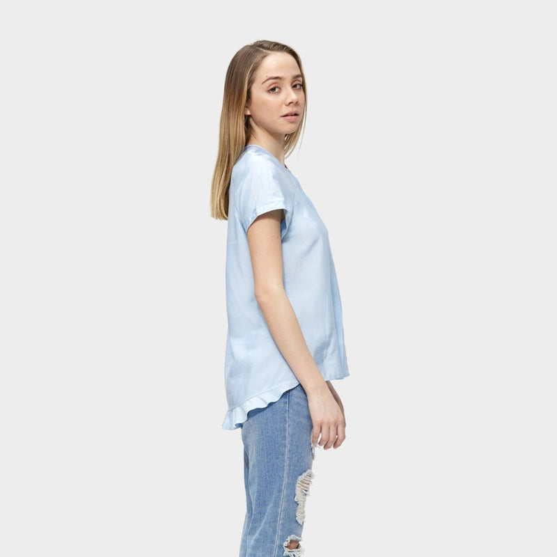 Baby Blue silk top, Freyja Top, tencel, eco clothing, natural clothing, green clothing, luxury clothing, organic clothing, affordable clothing, eco friendly top, silk top, silk , cotton