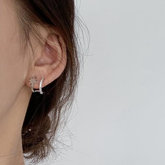 Star Twins Hoop Earrings