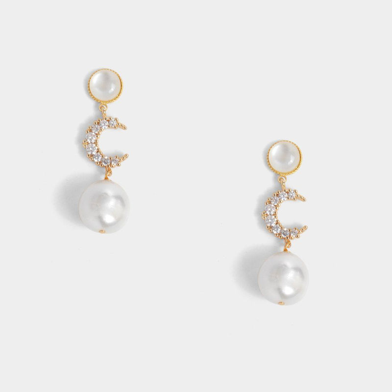 Opal Moon Pearl Earrings