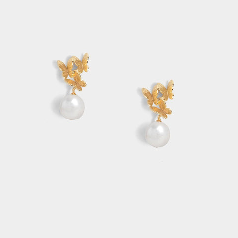 Diana Butterfly Pearl Earrings