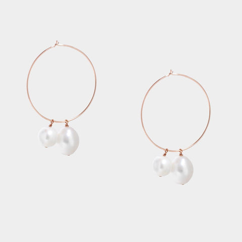 Circle Twins Pearl Hoops