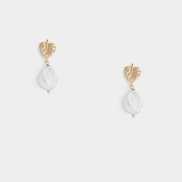 Monstera Pearl Earrings