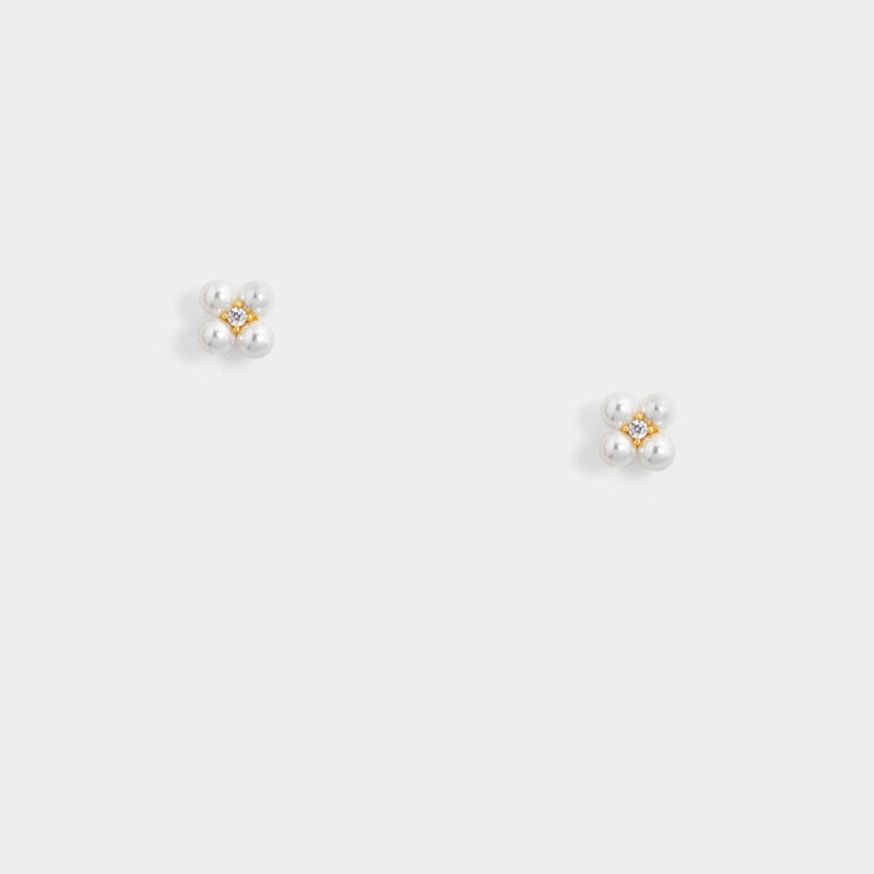 Tiny Floral Pearl Studs -D