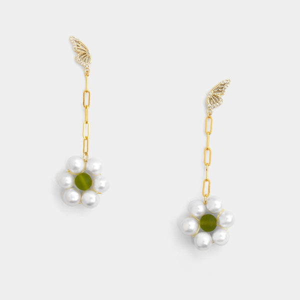 Monarch Chain Floral Earrings