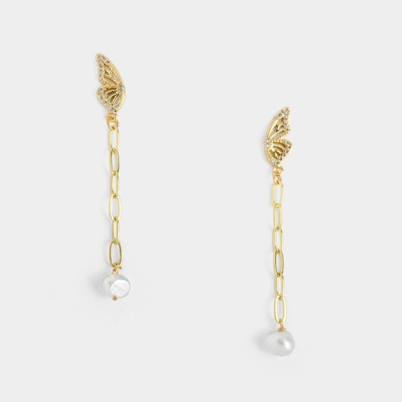 Monarch Chain Pearl Earrings-D