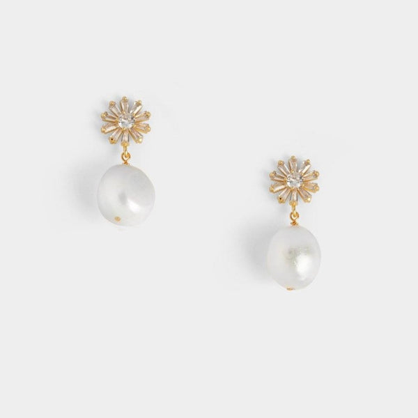 Bethany Single Pearl Earrings