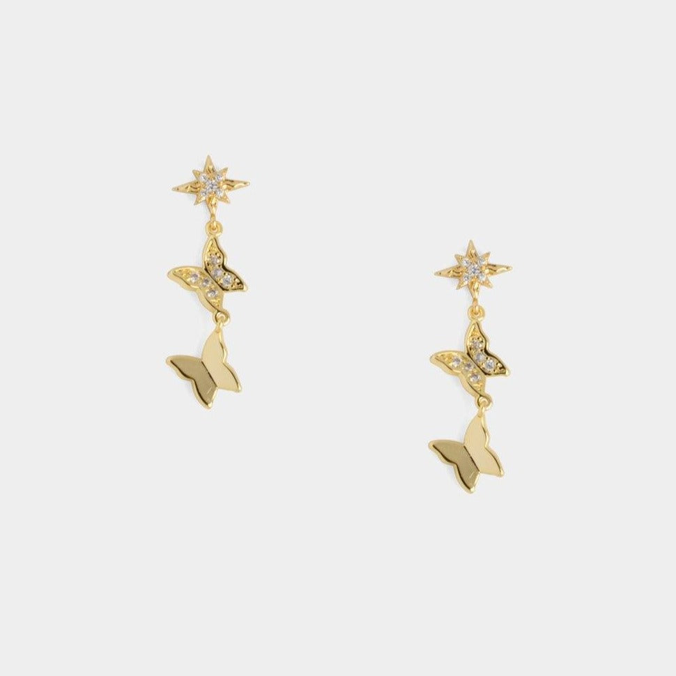 Aries Dangling Butterfly Earrings