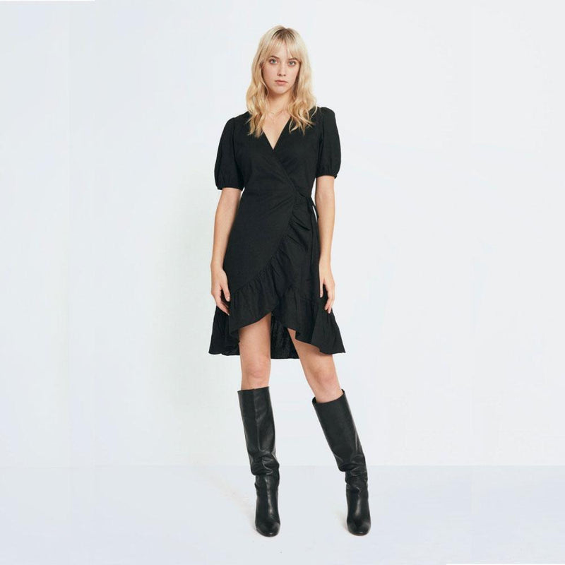 Puff Sleeve Wrap Dress