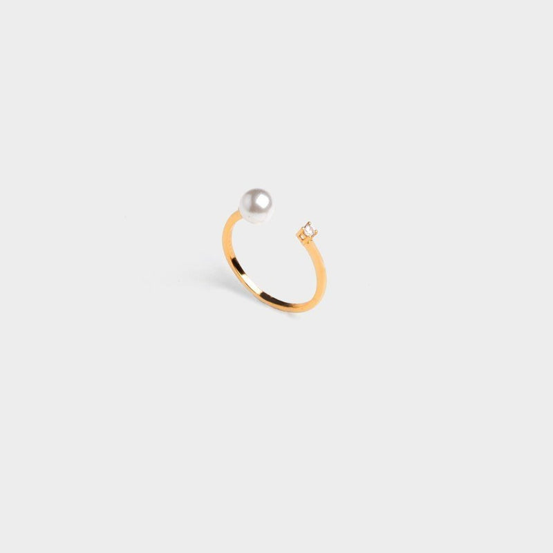 Simple CZ Pearl open Ring