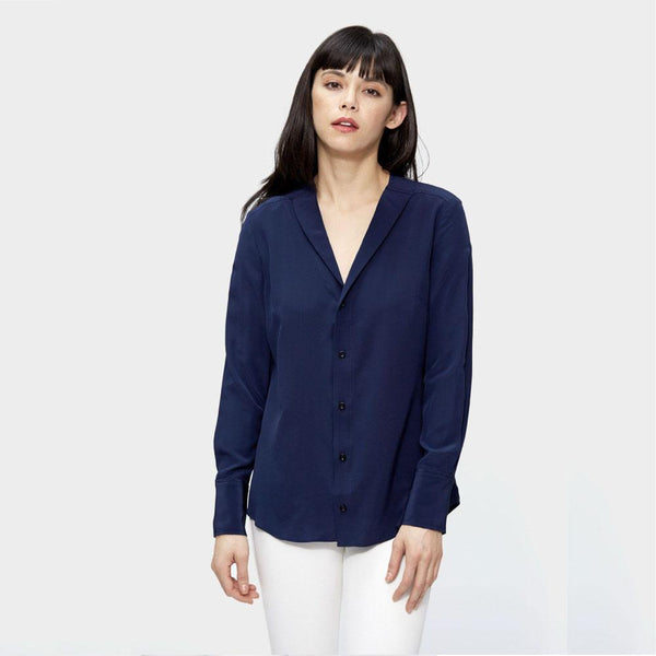 The V neck Silk Blouse