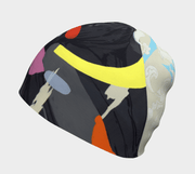 Left side view of  Women's Lalita's Art Shop Crow beanie hat illustrated by street artist Ankhone
