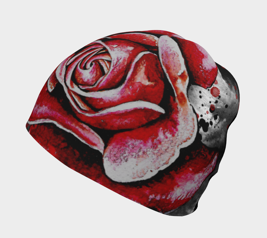 Left view of lalita's Art Shop Women's Red Rose Beanie hat illustrated by Julie L'Ecuyer