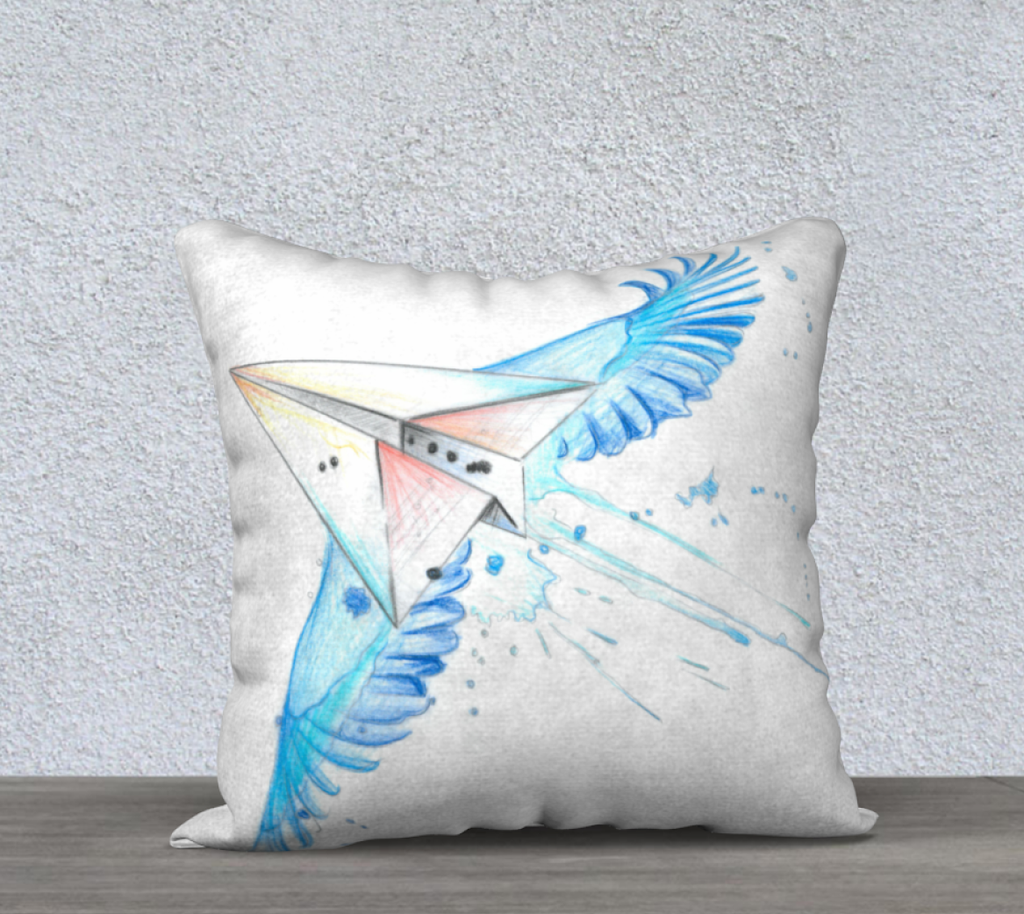 Bird-Plane Pillow Cover 18 X 18