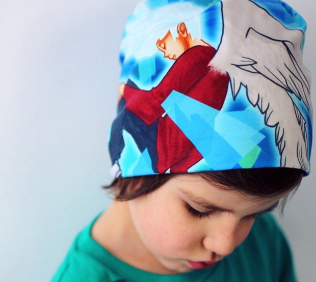 Child wearing Lalita's Art Shop Head in The Clouds Grow-with-me beanie hat by Ankhone. Best kids ski toque