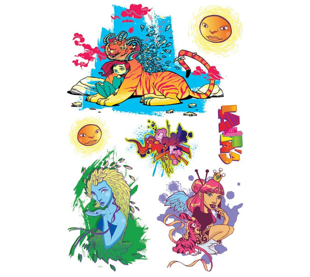 This vibrant Urbain Girls collection of temporary tattoos by Ankhone presents 7 tattoos all inspired of street art and graffiti culture. One young girl with her Tiger friend, one blue young woman and another angel. e