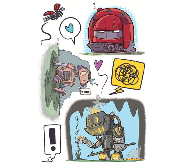 This collection of loving robots is just too adorable. Illustrated by artist Andre Martel, this set contains three robots, a lady bug and three speech bubbles.
