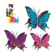 Discover this beautiful collection of butterflies removable tattoos illustrated by the Wildlife painter Claude Thivierge. Detail of the pink, blue, purple butterflies real art, fake tattoos.