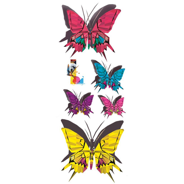 Discover this beautiful collection of butterflies removable tattoos illustrated by the Wildlife painter Claude Thivierge. you will find two pink, one blue, purple and yellow.