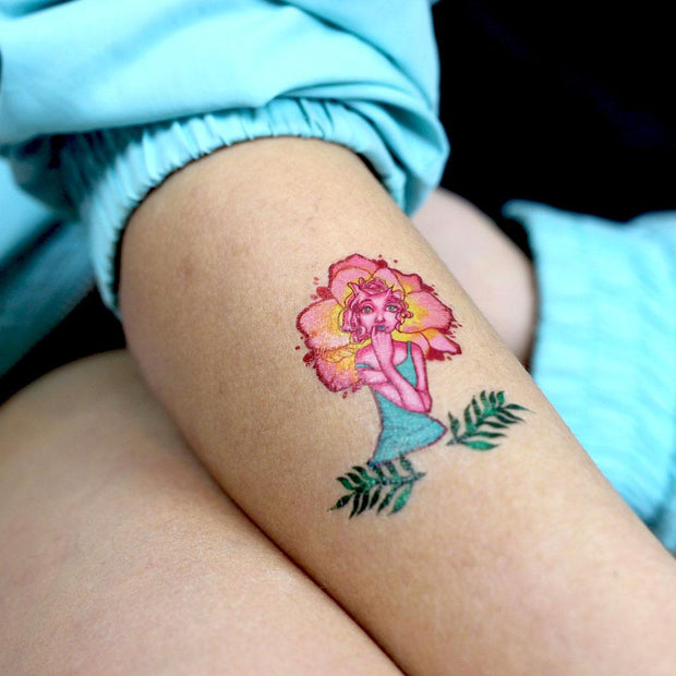 Detail of Lalita's Art Shop artistic Flower-Fairies temporary tattoos on girl left arm
