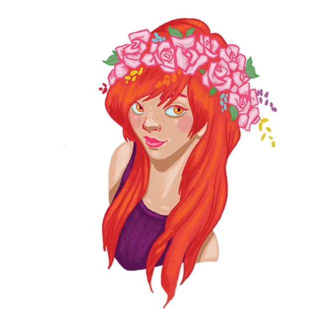 The flower redhead girl from Lalita's Art Shop realistic temporary Flower fairies collection illustrated by artist Ankhone.