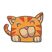 LAST1022 the red kitty cat from the create your cat totem illustrated by professional artist, Andre Martel