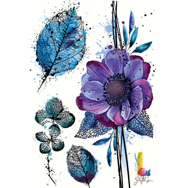 Designed by the professional tattoo artist Julie L'Ecuyer, these realistic watercolor leaves and flower fake tattoos the perfect gift for botanical  lovers!