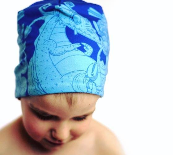 Boy wearing Lalita's Art Shop blue Knights and Dragons for children beanie hat