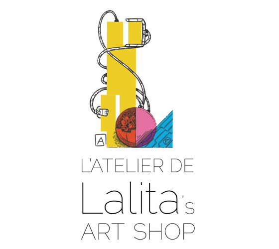 Since our mission is promote visual arts and Canadian artists, every Lalita's Art Shop Artist has their own personalized logo, this is the one by cartoonist Andre Martel.